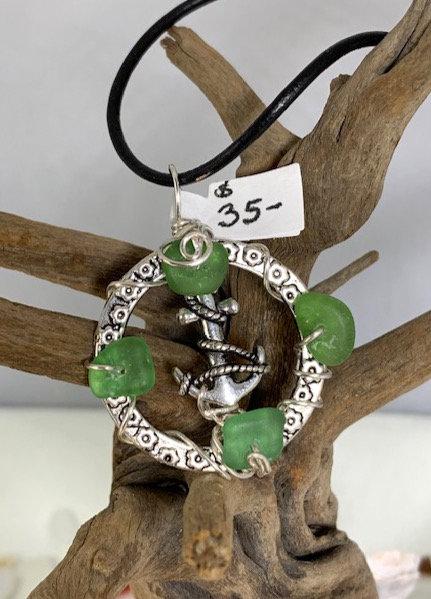 Anchor on Green Seaglass Circle Pendant #4375