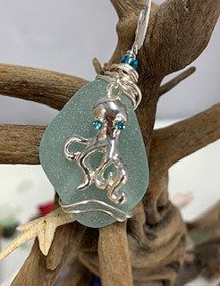 WP Pale Blue Seaglass w/Octopus Pendant