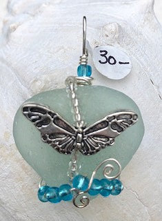WP Pale Blue Seaglass w/ Lg Butterfly Pendant