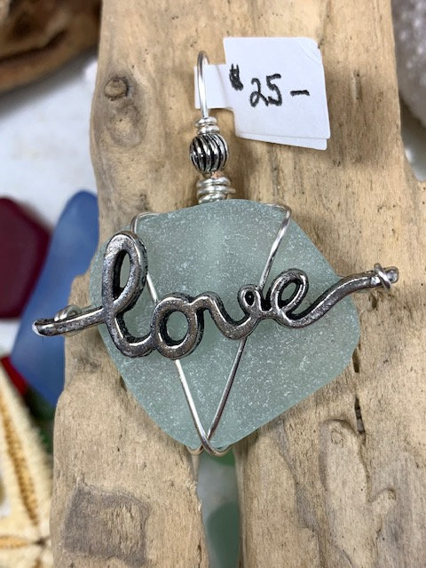 Light Blue Seaglass LOVE Pendant #4306
