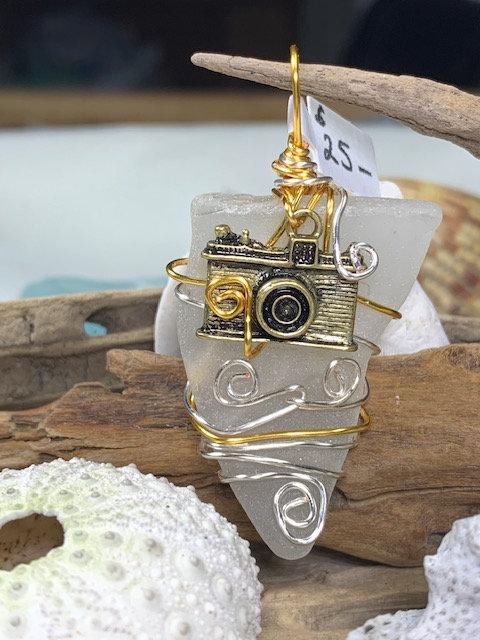 White Seaglass & Camera Pendant #4383