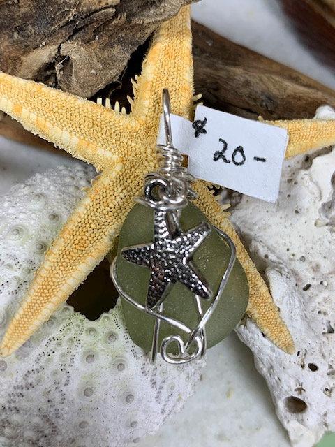 Olive Seaglass Star Pendant #4310