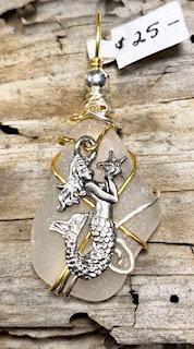 WP White Seaglass w/Memaid holding Starfish Pendant