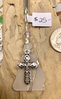 White Seaglass w/ Cross Pendant  #4253