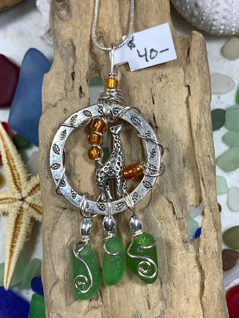 3 Green Seaglass Dangles & Giraffe Hoop Pendant #4355