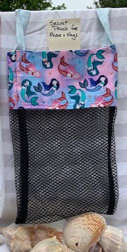 WP Lg Beach Combing Bags:  Teal & Pink Mermaids