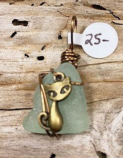 Light Teal Seaglass w/ Brass Cat Pendant #4226