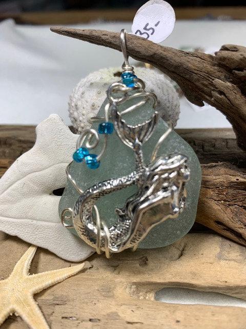 Large Cola Seaglass Mermaid Pendant #4150