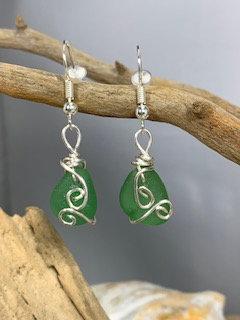 Green Seaglass Earrings E204