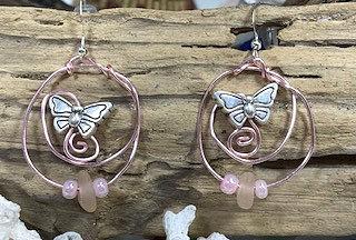 WP Pink Seaglass & Hoops w/ Butterflies Earrings