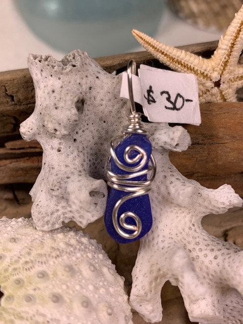 WP Cobalt Blue Seaglass Pendant  4214