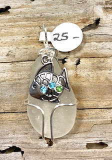 White Seaglass w/ Fish Pendant #4228