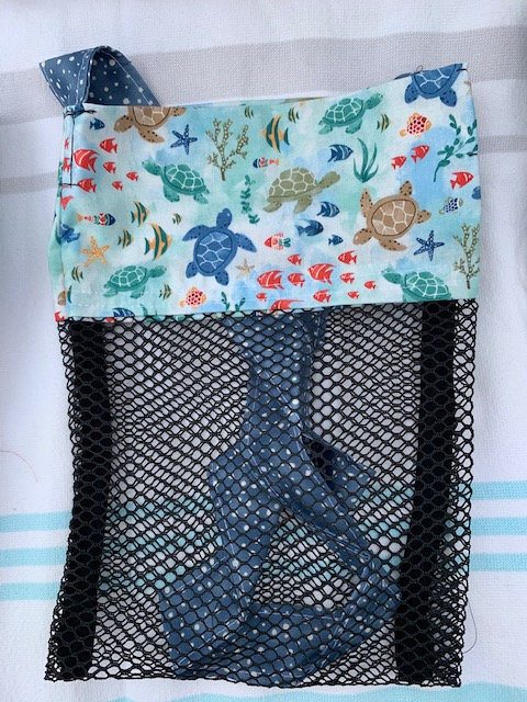 Small (Kid Size) Beach Combing Bags: SeaTurtles & Fish