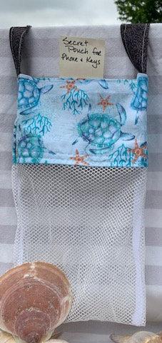 Lg Beach Combing Bags:  Blue Seaturtles
