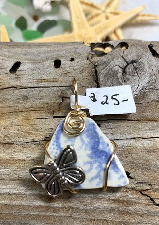 Blue & White Sea Pottery & Butterfly Pendant #4322