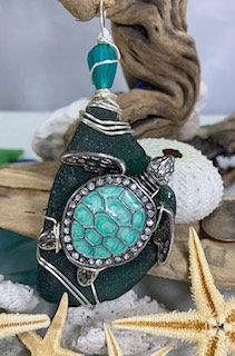 Dark Teal Seaglass w/ Lg Sea Turtle Pendant #4067