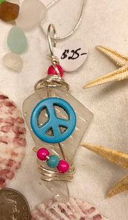 White Patterned Seaglass with Bright Peace Pendant  #4154