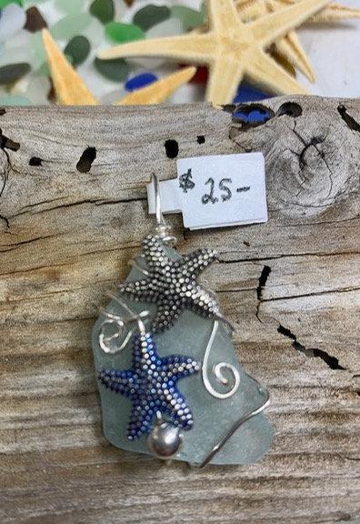 Light Blue Seaglass Dual Starfish Pendant #4399