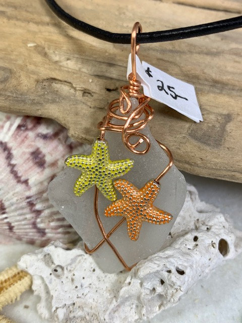 White Seaglass w/ Starfish Duo Pendant #4304
