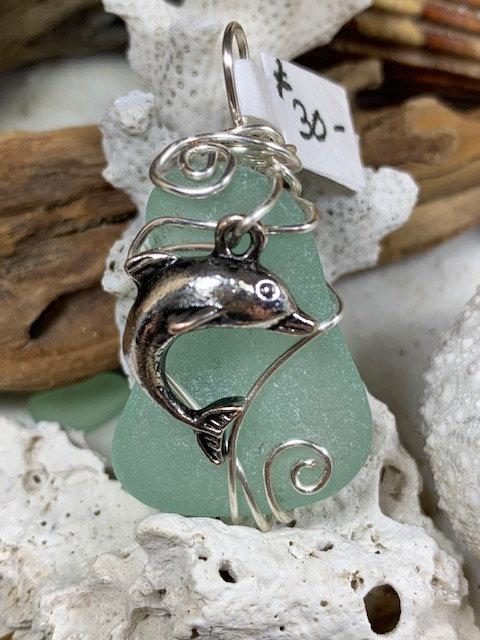 Light Blue Seaglass Dolphin Pendant #4377