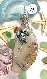 White Seaglass w/Green SeaTurtle & Sea Fan Pendant # 4196