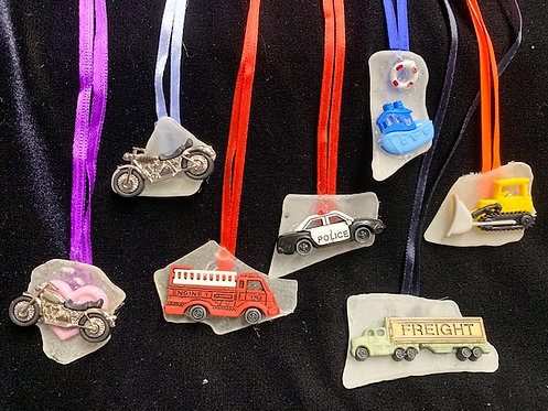 WP Kid Seaglass and Seashell Necklaces: First Responders & Wheels