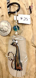 WP White Seaglass w/Tall Silver Cat Pendant