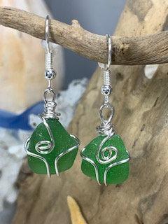 Green Seaglass Earrings  E202