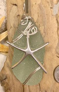 Large Cola Seaglass w/ Starfish Pendant  #4187