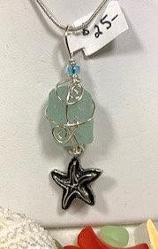 Cola seaglass & starfish dangle pendant #4342