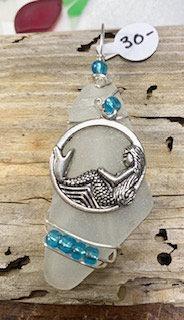 Large White Seaglass w/ Cresent Mermaid Pendant #4209