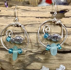 Pale Blue Seaglass w/ Hoops & Fish Earrings  E216