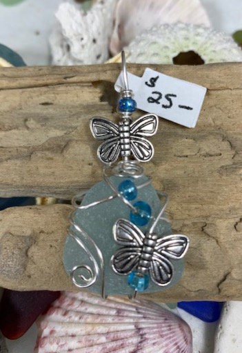 Pale Blue Seaglass w/ Butterfly Duo Pendant #4350
