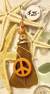 Amber- Brown Seaglass w/ Orange Peace Pendant #4153