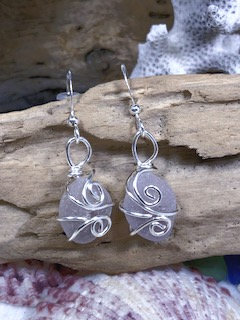 Lavender Seaglass Earrings E201