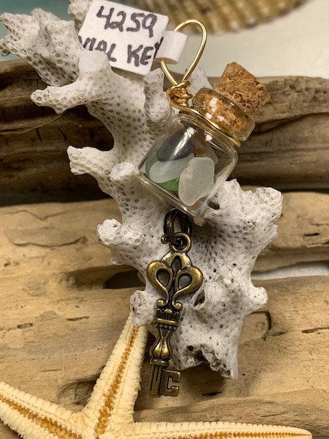 Small Seaglass Vial w/ Shark tooth & Key dangle Pendant #4259