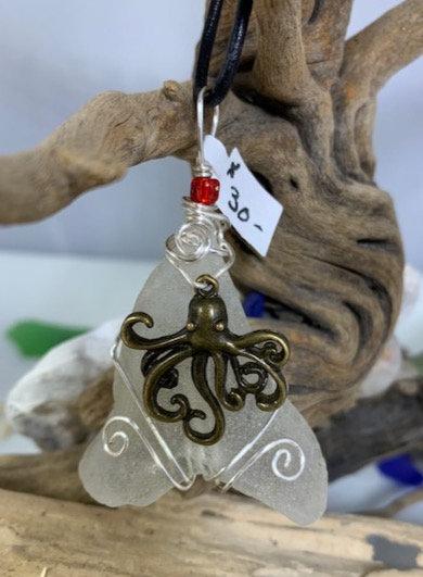 White Seaglass w/ Octopus Pendant #4364