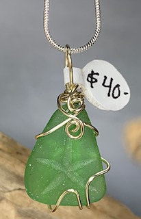 Green Seaglass w/ Etched Starfish #3043