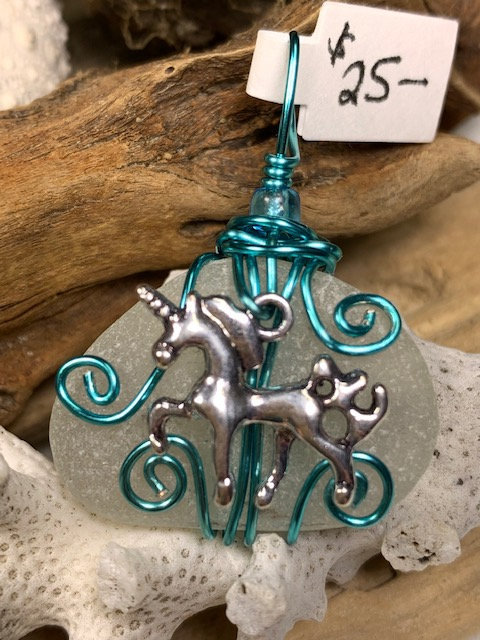 White Seaglass Unicorn Pendant Seafoam #4416
