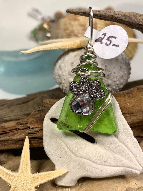 Lime Seaglass Crystal Paw Pendant #4235