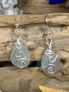 Pale Blue Seaglass Earrings E213