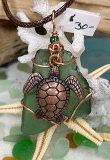 Green Seaglass w/ Copper Sea Turtle Pendant #4314