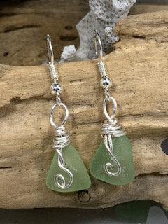 Pale green Seaglass Earrings E210