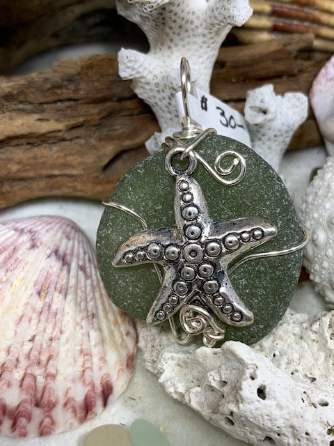 Olive Seaglass & Starfish Pendant #4301