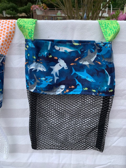 Small (Kid Size) Beach Combing Bags: Hammerheads & Fish