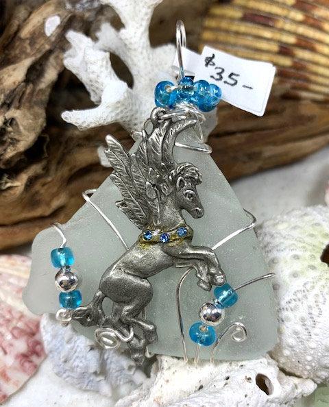 White Seaglass & Pegasus Pendant #4409
