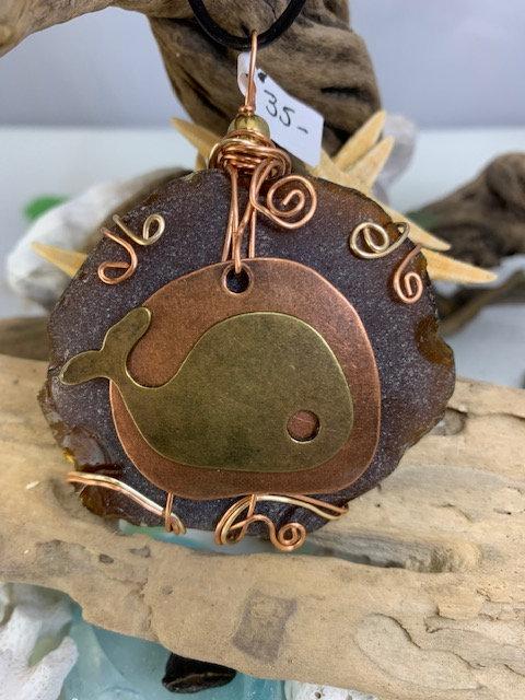 Brown Seaglass w/ Whale pendant #4324