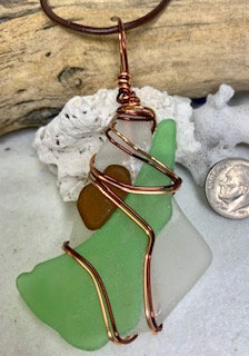 WP Large Multicolor Seaglass Collage Pendant