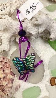 WP White Seaglass w/ Multicolor Butterfly w/ Purple wrap