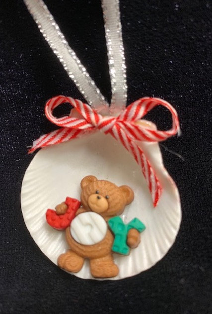Seashell Ornament: JOY Bear